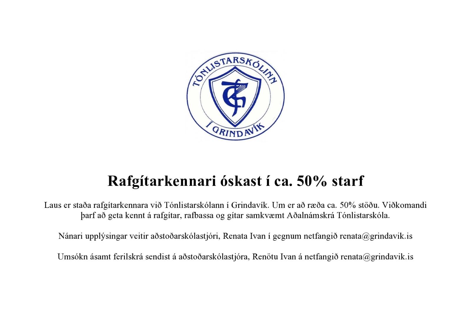 Mynd fyrir Rafgítarkennari óskast í ca. 50% starf