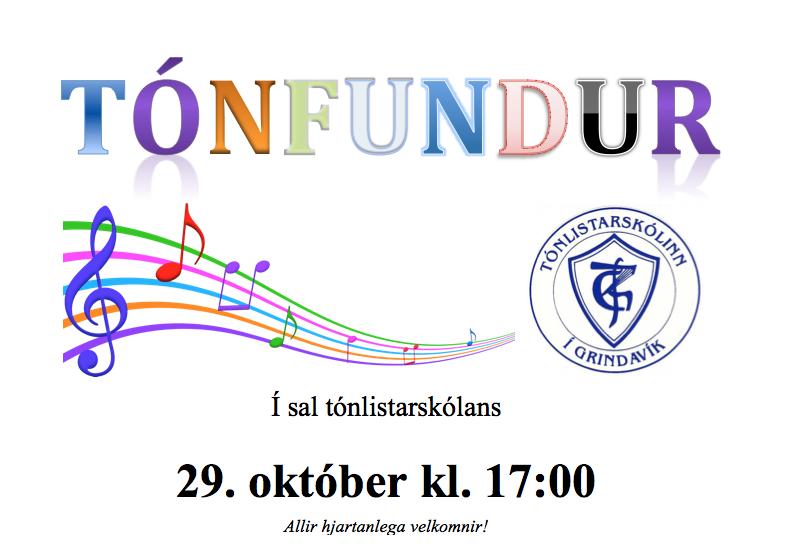 Mynd fyrir Tónfundur í sal tónlistarskólans 29. október kl. 17:00