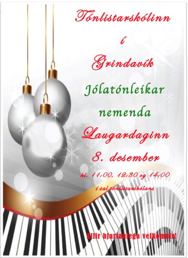 Jólatónleikar Tónlistarskólans 8. desember