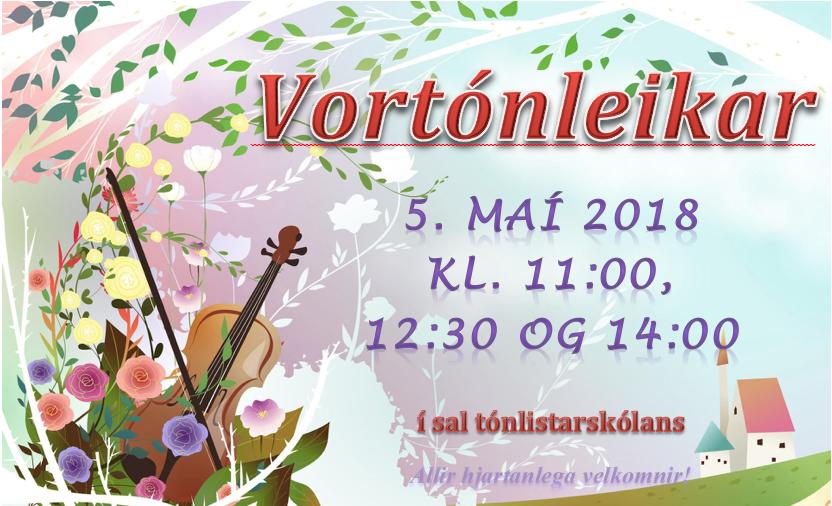 Mynd fyrir Vortónleikar tónlistarskólans 5. maí kl. 11:00, 12:30 og 14:00