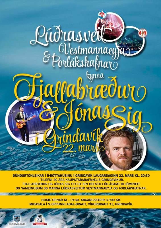 Stórtónleikar Jónasar Sig, Fjallabræðra og Lúðrasveita Vestm. og Þorláksh. í íþróttahúsinu