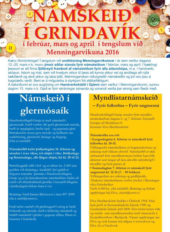 Fjölbreytt námskeið í febrúar, mars og apríl