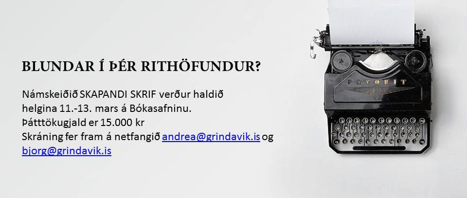 Skapandi skrif - námskeið í Menningarviku