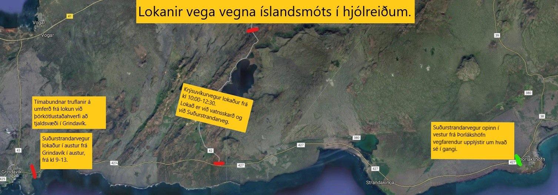Lokanir á sunnudaginn vegna Íslandsmótsins í hjólreiðum
