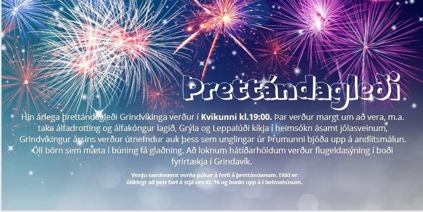 Mynd fyrir Þrettándagleði í Kvikunni