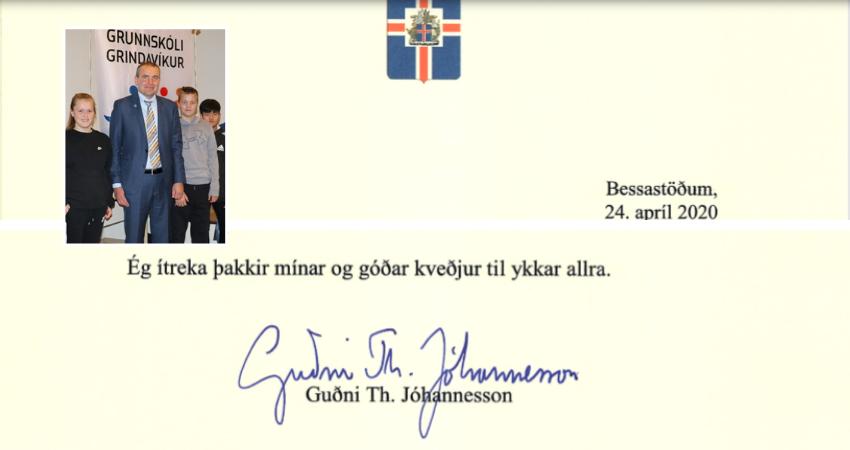 Mynd fyrir Guðni forseti sendir þakkir og góðar kveðjur til Grindvíkinga