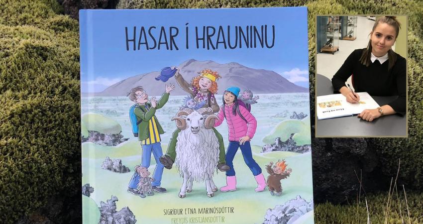 Mynd fyrir Ný barnabók, Hasar í hrauninu,  gerist í Grindavík