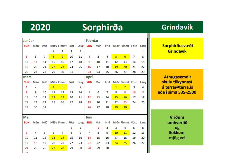 Mynd fyrir Nýtt sorphirðudagatal fyrir árið 2020