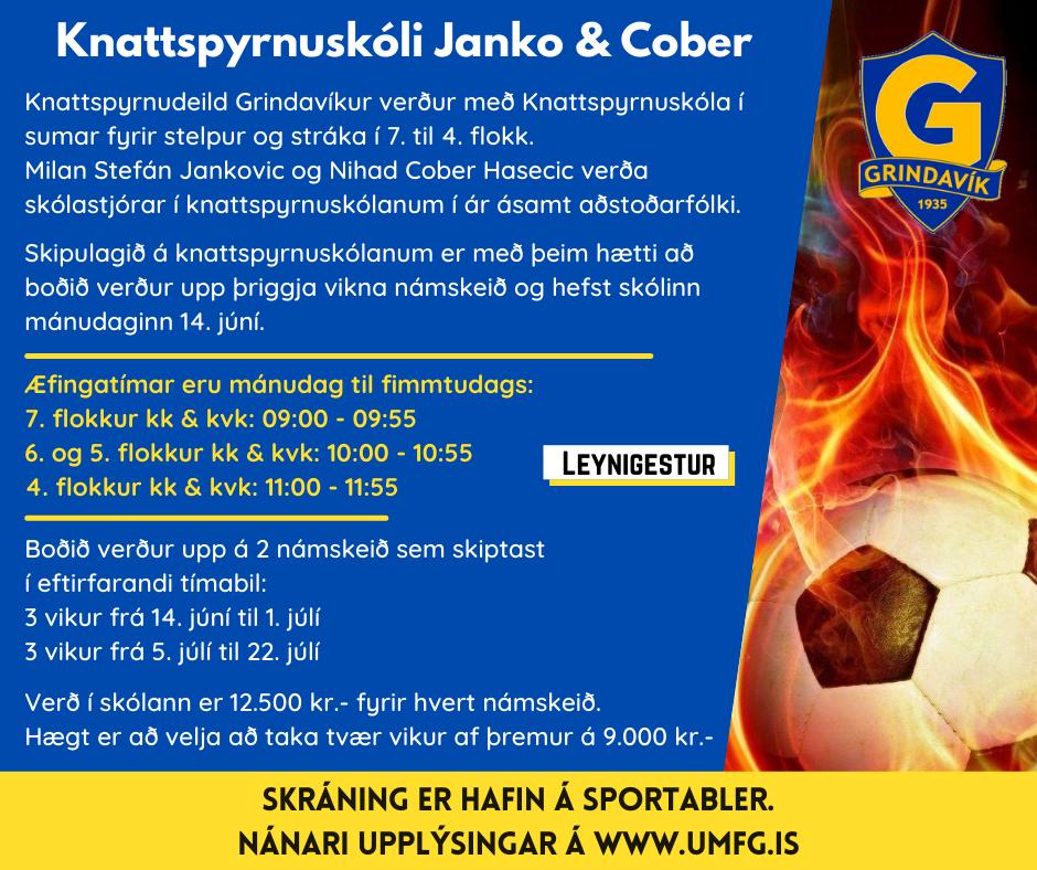 Mynd fyrir Knattspyrnuskóli Janko & Cober hafinn - skráning enn í gangi