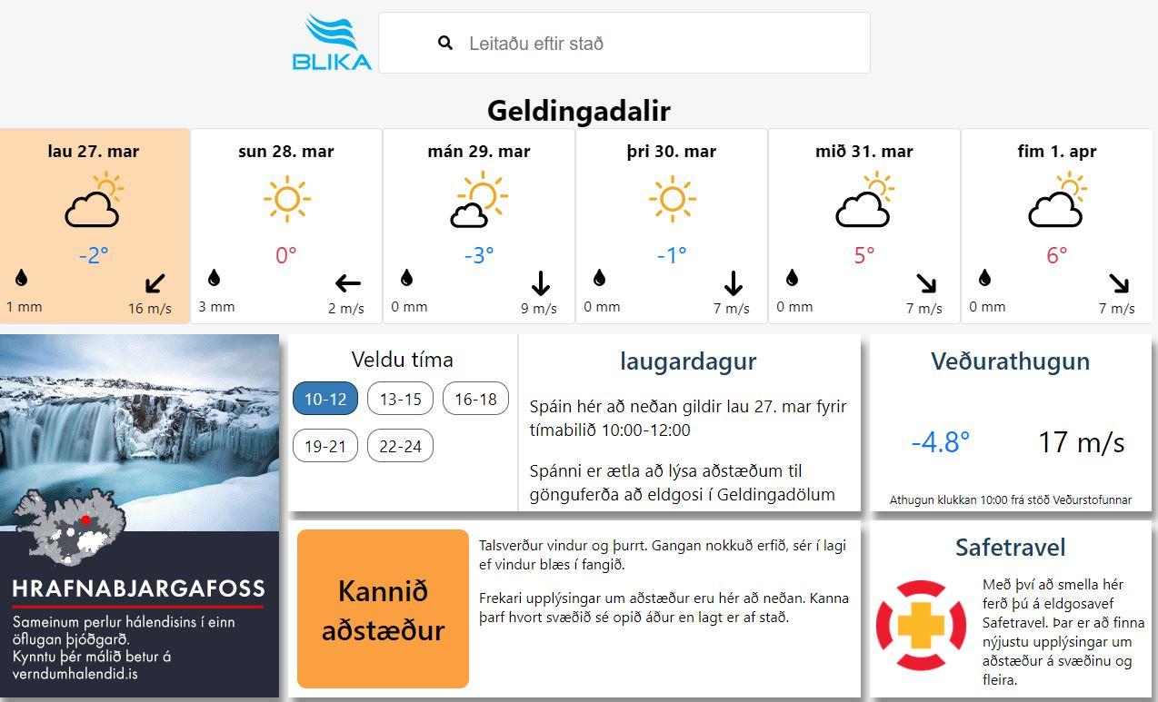 Mynd fyrir Bardziej szczegółowe informacje o pogodzie w okolicach miejsca erupcji w Geldingadalur