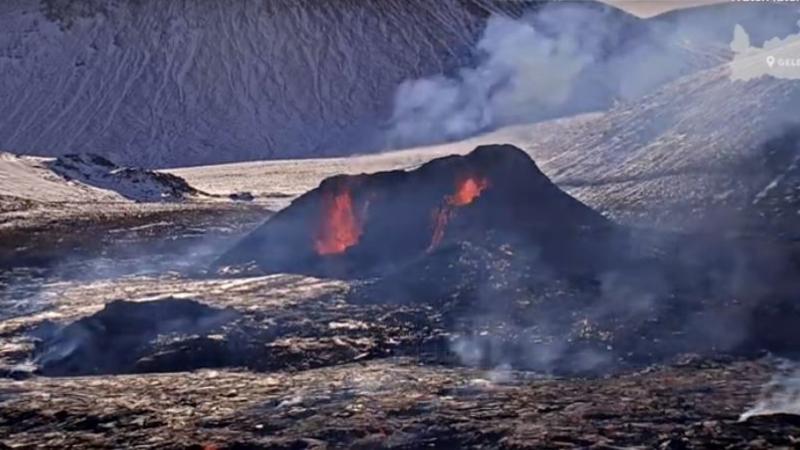Mynd fyrir Kalt á leiðinni á gosstöðvar í dag - búið ykkur vel!