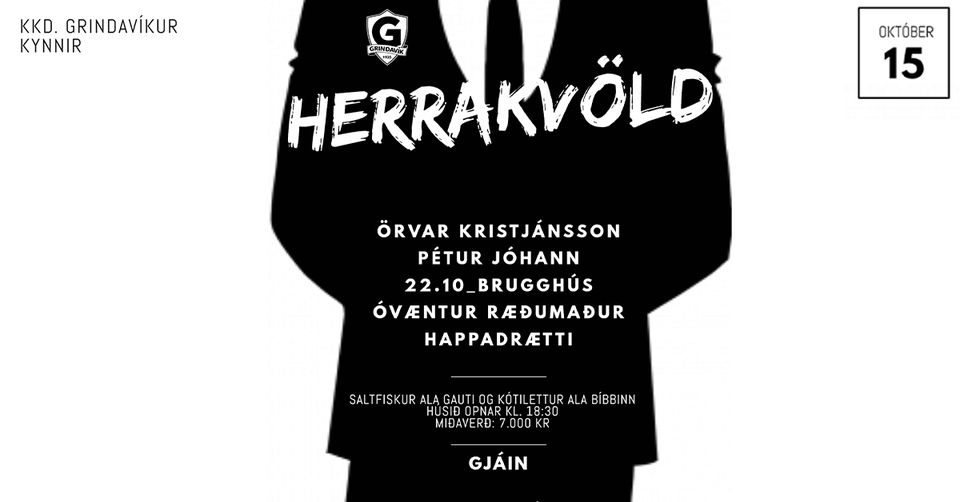 Mynd fyrir Herrakvöld Körfuknattleiksdeildar Grindavíkur á föstudaginn