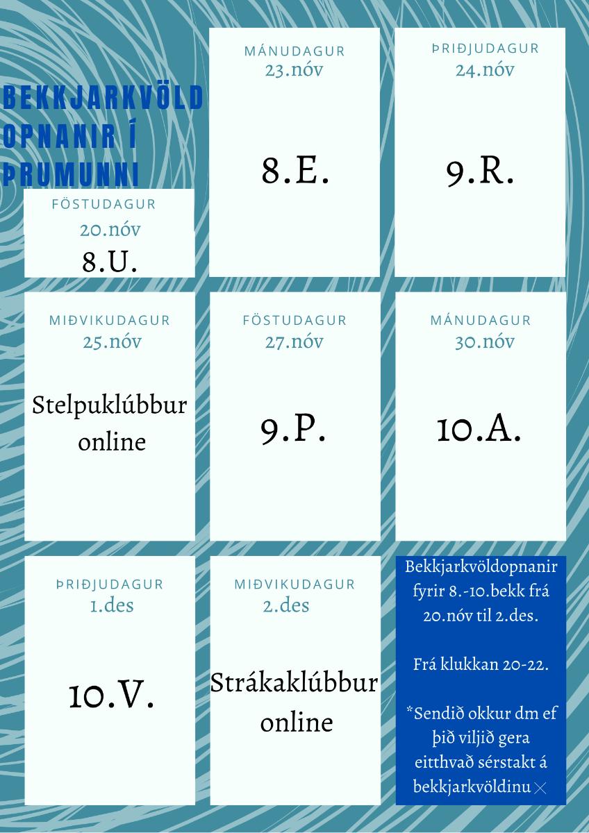 Mynd fyrir Bekkjarkvöldopnanir í Þrumunni