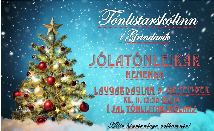 Nemendur tónlistarskólans halda hátíðlega jólatónleika 9. desember